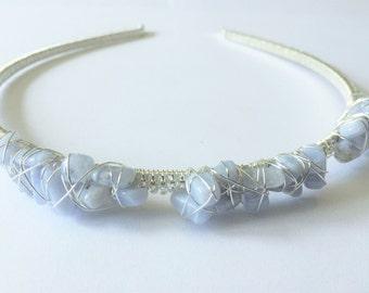 Asymmetric wire wrapped Blue Lace Agate beaded headband, bridesmaid accessory, hair accessories, Gemini birthstone