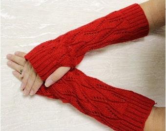 Fingerless gloves, RED,  knit, texting, arm warmers, gloves, mittens, fall, winter, crochet, women, wrist warmers,  FG2