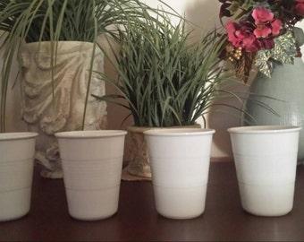Set of 4 Modern White Porcelain Expresso Cups