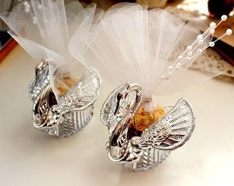 Silver Acrylic Swan Shaped Wedding Favors/Gift/Candy/Sweet Holders  (set of 10)
