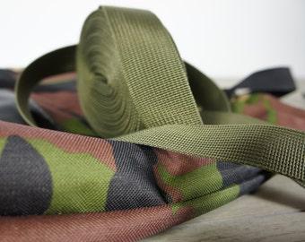 ARMY GREEN ribbon  polypropylene webbing, green webbing, bag strap, shoulder bag stra, heavy weight webbing