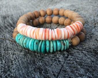 Pink Shell Bead and Sandalwood Stacking Bracelet, Boho Bracelet, Yoga Bracelet