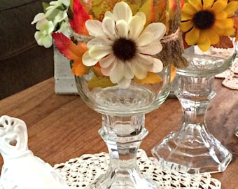 Mason jar candle holder,leaves and sunflower, glass pedestal candle holder ,country decor,mantel  decor, hostess gift.