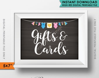 "Gifts and Cards Sign, Baby Shower Decor, Cards and Gifts Table Sign, Neutral Clothesline, Instant Download 5x7"" Chalkboard Style Printable"