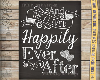 And They Lived Happily Ever After Printable Chalkboard Wedding Poster, Reception Decor Wedding Thank You, INSTANT DOWNLOAD Digital File