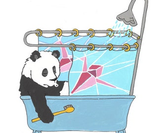 "Panda Art, paper crane art, Bathroom art, 8.5"" x 11"" fine art print"