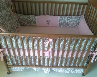 Pink and gray damask baby bedding
