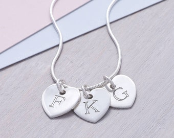 Personalised Sterling Silver Heart Initial Necklace