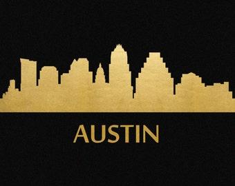 Austin Skyline Gold Foil Print 8x11