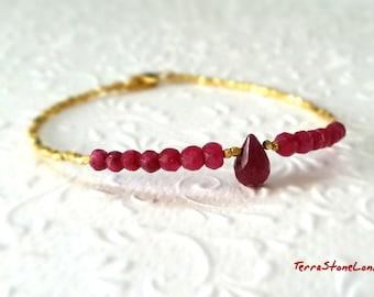 Ruby and 24K Gold Vermeil Braceler, Gemstone Bracelet, July Birthstone Bracelet