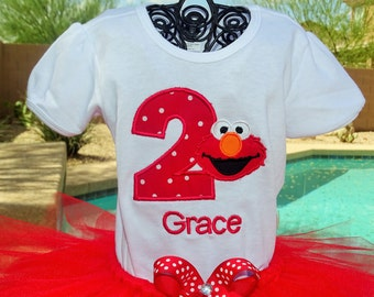 Personalzed Elmo from Sesame Street Birthday shirt only.