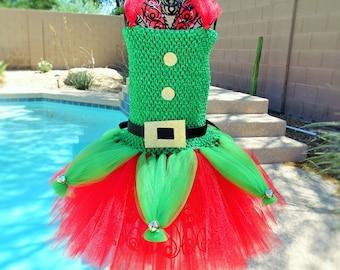 Elf Inspired tutu dress, Halloween tutu costume, Christmas dress