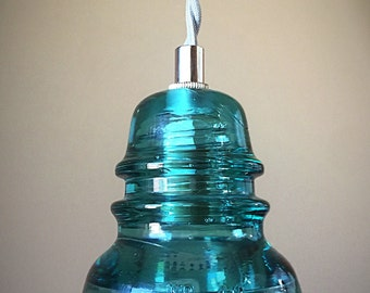 Handmade Glass Insulator Pendant Light - Blue Hemingray Insulator Light - Vintage Teleagraph Insulator Lighting