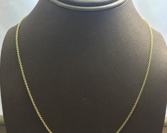 """14K Solid Yellow Gold Cable Chain 16"""" (Available in Multiple Weights)"""