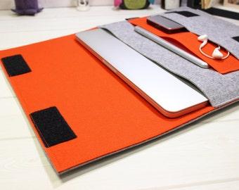 12 laptop sleeve, 11 inch laptop case, Minimal laptop pouch, orange laptop case, felt laptop sleeve, gray laptop case, Macbook Air case