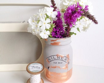Painted mason kilner jar in grey with copper gilding