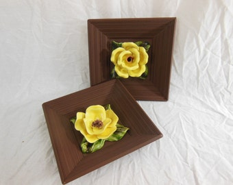 Vintage Yellow Ceramic Flowers Wall Hangings - Capodimonte-style