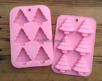 6 Christmas Tree Silicone Mold Bakeware Baking Cake Chocolate Brownie Cookie Jello Butter Ice Soap Making Bath Bomb Mould Tray Food Craft