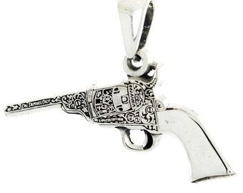 Estate 925 Silver Ornate Revolver Gun Pendant