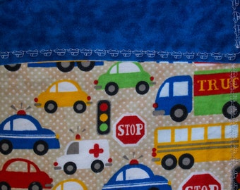 Lined Flannel Blue Cars Trucks Buses Baby Receiving Blanket
