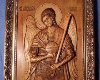 Archange Saint Michel. Wood Carvings