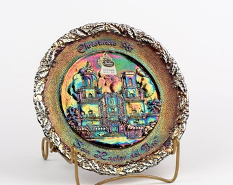 Fenton 1981 Christmas in America Collector's Plate, San Xavier del Bac, Tucson, AZ,  Carnival Glass,  # 12,  Original Booklet Hard to Find