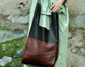 Black leather tote/woman soft black leather bag/Hand made soft leather tote bag