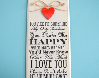 You are my Sunshine Gift, Sunshine rhyme Plaque! Sunshine song Sign. Shabby Chic Sunshine Sign, Vintage sunshine Plaque Friend Gift 20cm