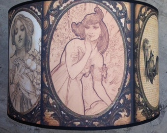 Vintage Victoriana SteamPunk Art Nouveau Oddities Inspired Lamp Shade
