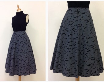 Vintage 50s black and gray circle skirt - size M/L