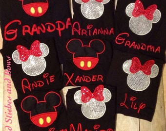 Custom embroidered Disney shirts minnie and mickey mouse set of 4