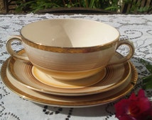 Art Deco Soup / Salad Trio Losol Ware Keeling & Co Hand Painted Two Handled Soup Bowl Saucer Side Plate Orange Brown Gold Made in England