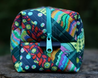 Green, Blue, Red, Yellow, Eclectic/Floral Quilted Zipper Case  - Teal Striped Vinyl Lined - Cosmetic Bag, Travel Organizer