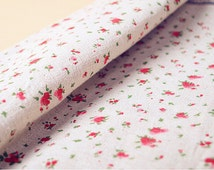 Retro Flower Cotton Linen Fabric Shabby Chic Small Rose Floral Fabric Upholstery Bag Curtain Home Decor 1/2 Yard f52