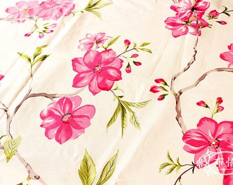 Flower Fabric Cotton Linen Fabric Begonia Floral Fabric Shabby Chic For Upholstery Bag Curtain Home Decor 1/2 Yard f48