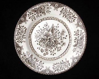 English Ironstone   Brown and White   Floral Tea Plate   6 inches   Replacement   Two available