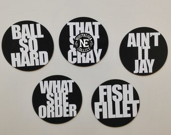 Kanye in Paris Magnets or Sticker Set: Ball Hard, That Ish Cray, Ain't It Jay, What She Order, Fish Fillet