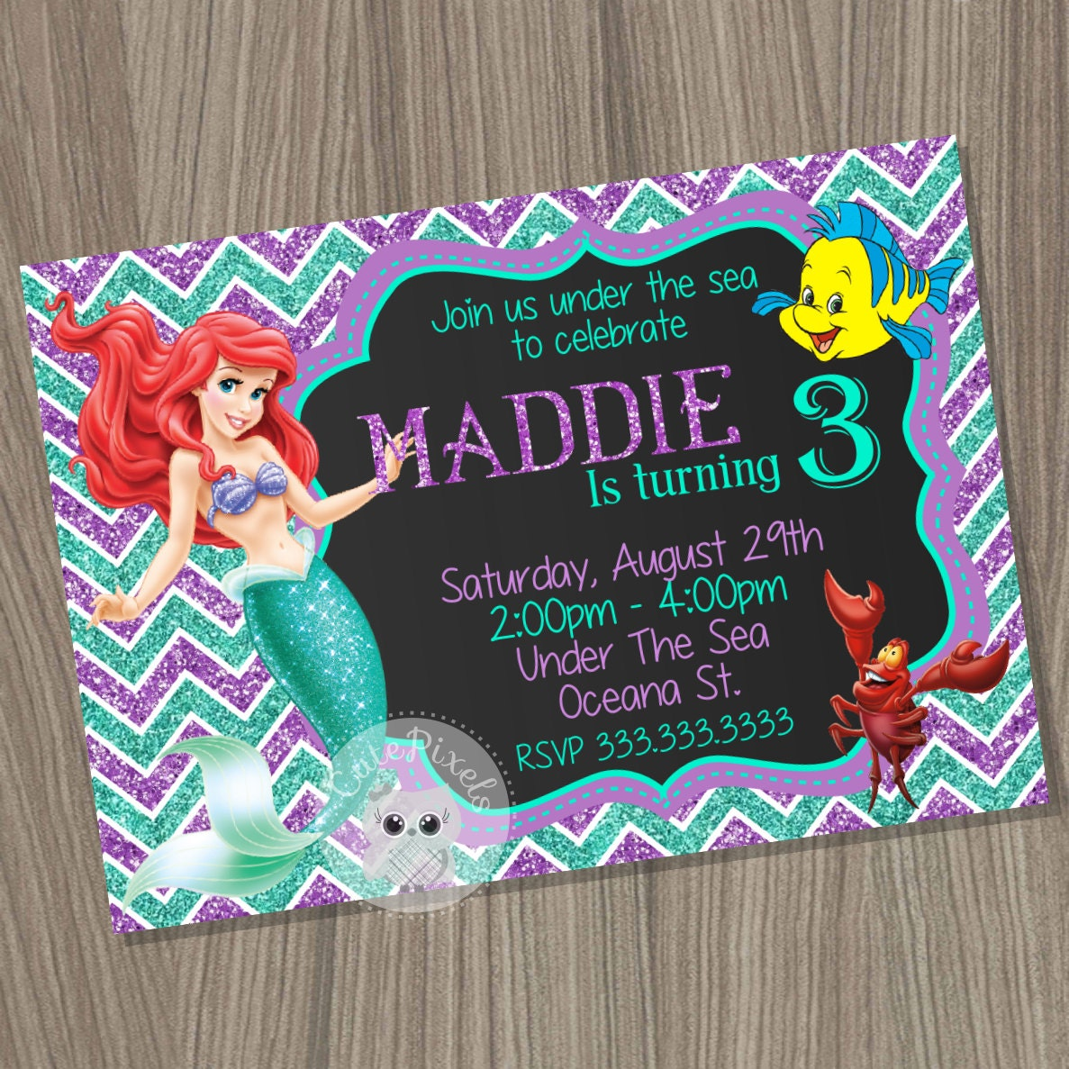 Little Mermaid Party Invitations and get inspiration to create nice invitation ideas