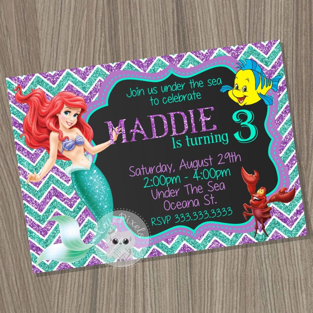 Little Mermaid Invitation Ariel Invitation Disney Little