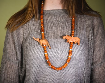 Handcrafted Wooden Elephant & Lion Safari Necklace