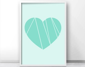 Instant Download Printable Art, Mint Green Wall Art Print, Digital Download Art, Mint Home Decor, Digital Download Print, Heart Art Print