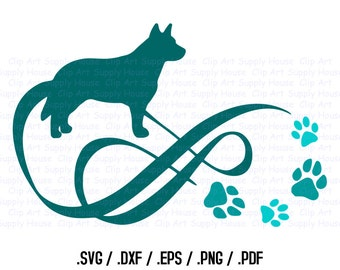 Infinity Dog Clipart, Veterinary Office Art, Animal SVG File, Puppy SVG, Vinyl Cutter, Screen Printing, Die Cut Machine - CA287