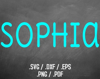 Sophia Font Design Files For Use With Your Silhouette Studio Software, DXF Files, SVG Font, EPS Files, Png Fonts, Print Silhouette