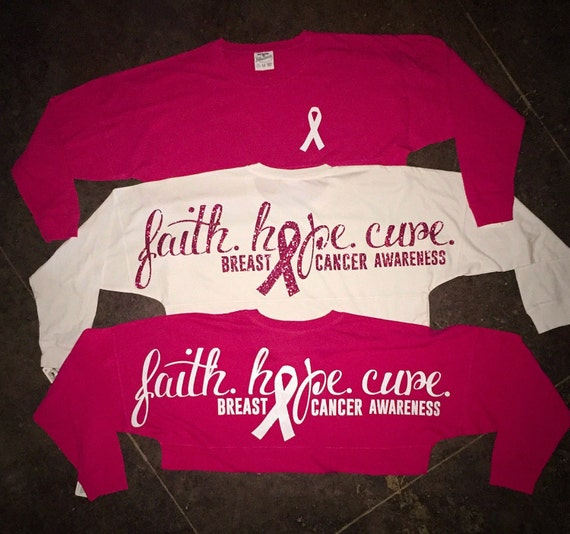 Items similar to faith hope cure breast cancer awareness for Breast cancer shirts ideas