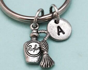 Perfume bottle keychain, perfume bottle charm, perfume keychain, personalized keychain, initial keychain, initial charm, monogram