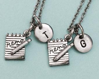 Best friend necklace, memo charm necklace, friendship necklace, sister necklace, bff necklace, memo book charm, personalized necklace