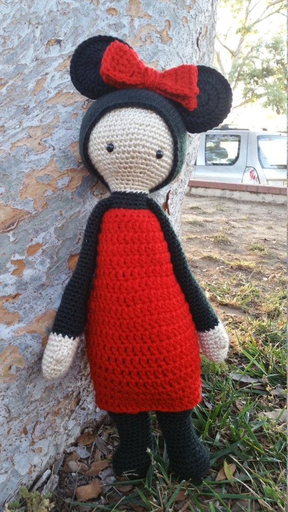 Crochet Minnie Mouse Doll : Minnie Mouse Inspired Lalylala Crochet Doll