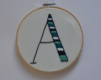 Letter A Embroidery Hoop Art / Embroidery Hoop Art / Nursery embroidery hoop art/ Wall Art/ Wall Decor/Hoop Art/Hand Embroidery Art