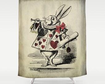 Alice in Wonderland - Don't Be Late - Decorative Shower Curtain - Alice in Wonderland Rabbit - Bathroom Decor - Powder Room Decor - Vintage