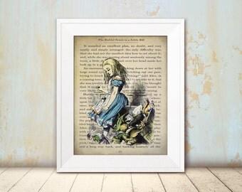 Alice in Wonderland Wall Art - Animal Jury - Mixed Media Art Print - Vintage Book Print - Alice Decor - Wonderland Decor - Steampunk Art